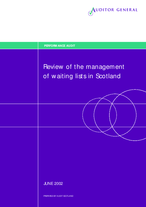 Report cover: Review of the management of waiting lists in Scotland