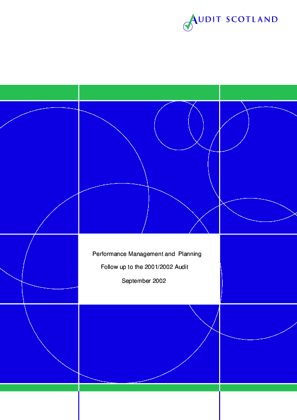 Report cover: Performance Management and Planning - Follow up 2002/03