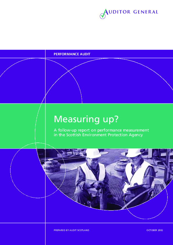 Report cover: Measuring up? A follow-up report on performance measurement in the Scottish Environment Protection Agency