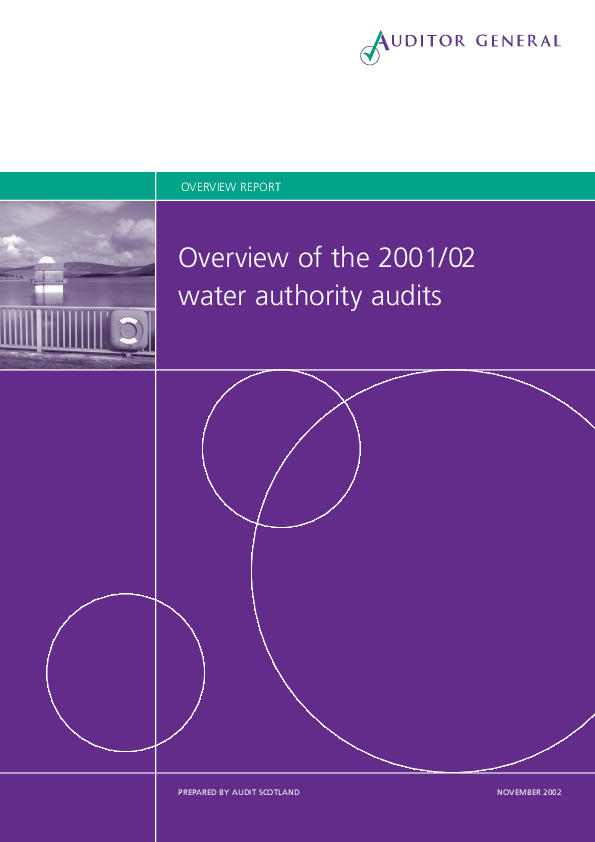 Report cover: Overview of the 2001/02 water authority audits