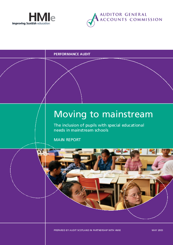 Report cover: Moving to mainstream: The inclusion of pupils with special educational needs in mainstream schools