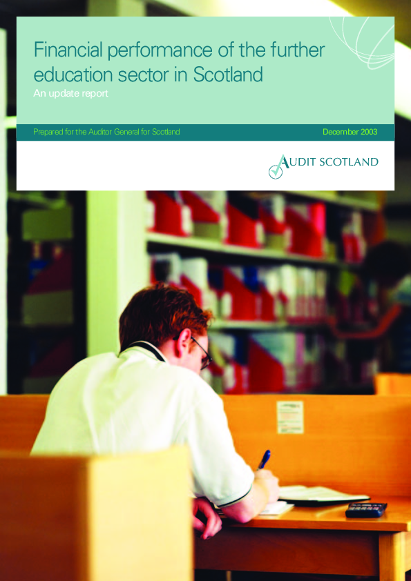 Report cover: Financial performance of the further education sector in Scotland