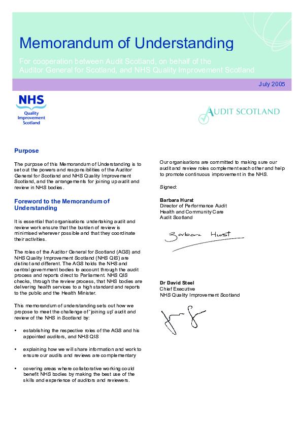 memorandum of understanding between audit scotland and nhs