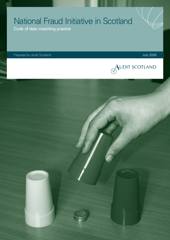 Report cover: Code of Data Matching Practice for Scotland