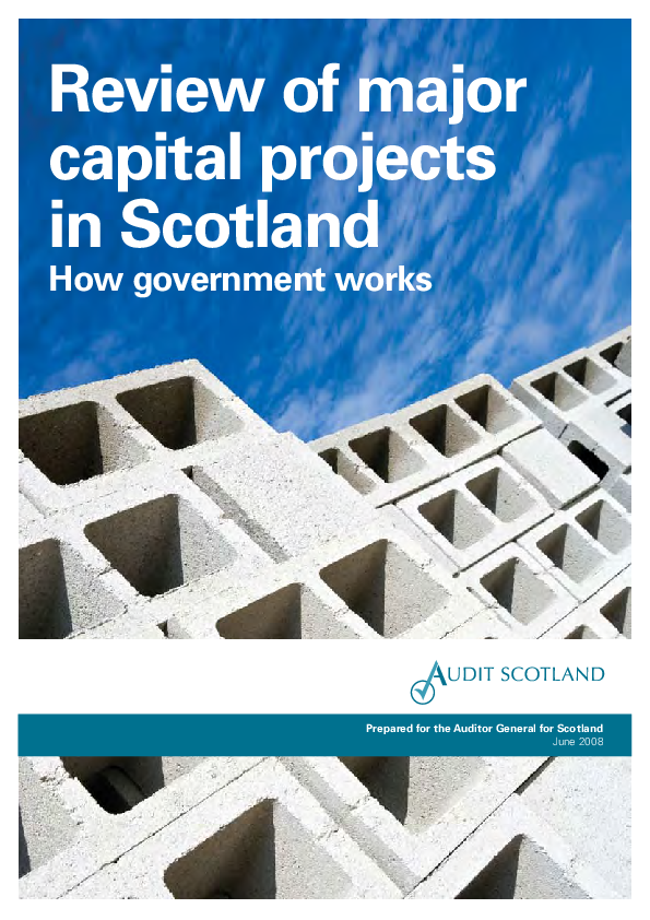 Report cover: Review of major capital projects - How government works