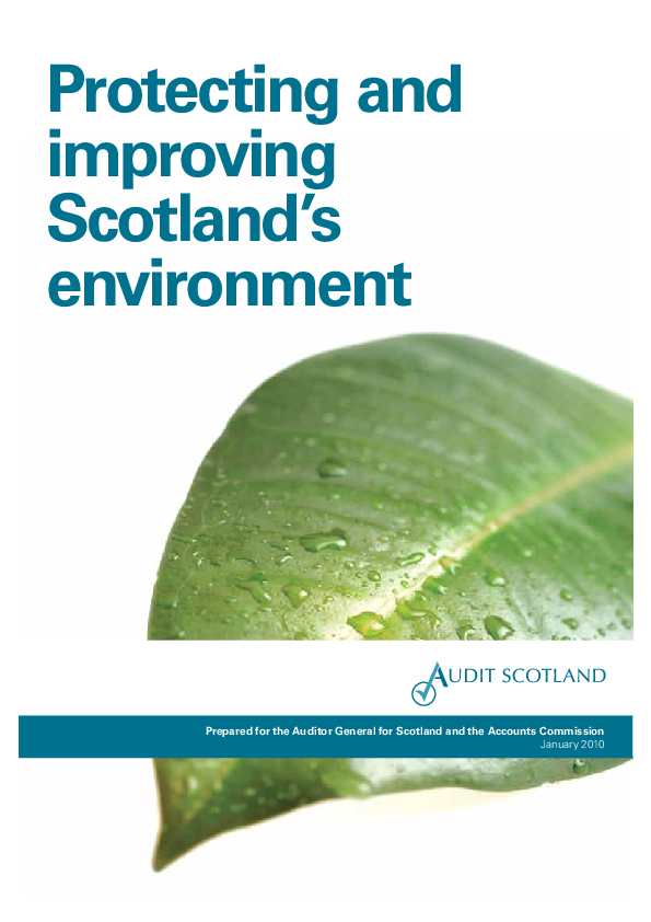 Report cover: Protecting and improving Scotland's environment