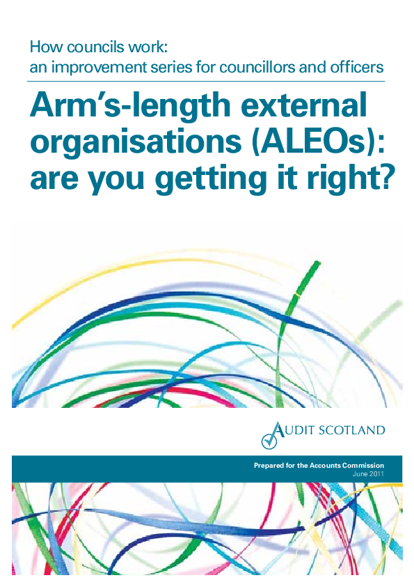 Report cover: How councils work: an improvement series for councillors and officers - Arm's-length external organisations (ALEOs): are you getting it right?