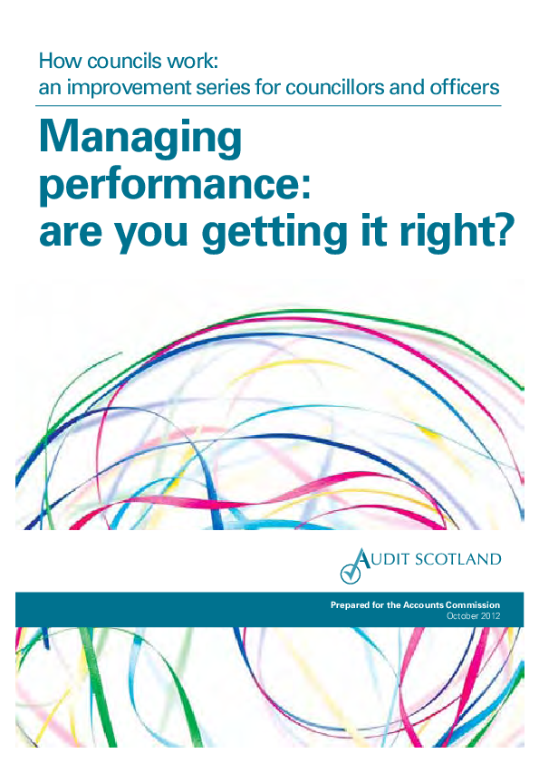 Report cover: How councils work: an improvement series for councillors and officers - Managing performance: are you getting it right?