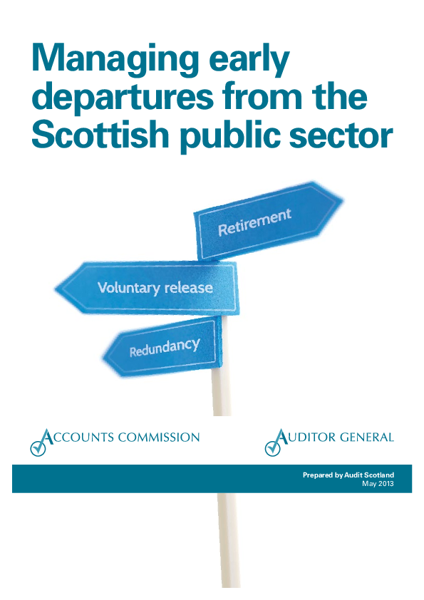 Report cover: Managing early departures from the Scottish public sector