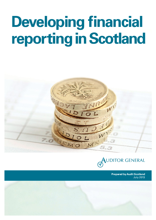 Report cover: Developing financial reporting in Scotland