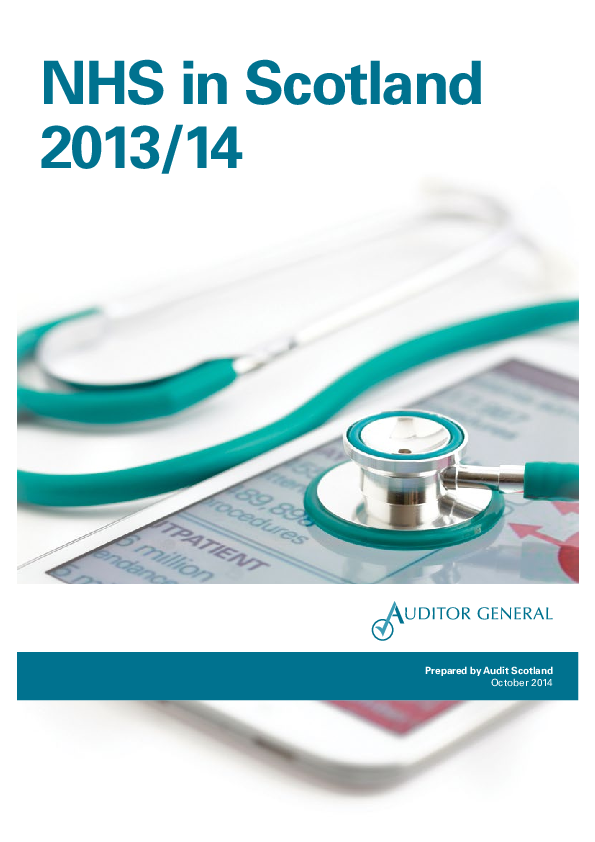 Report cover: NHS in Scotland 2013/14