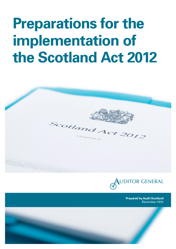 Report cover: Preparations for the implementation of the Scotland Act 2012