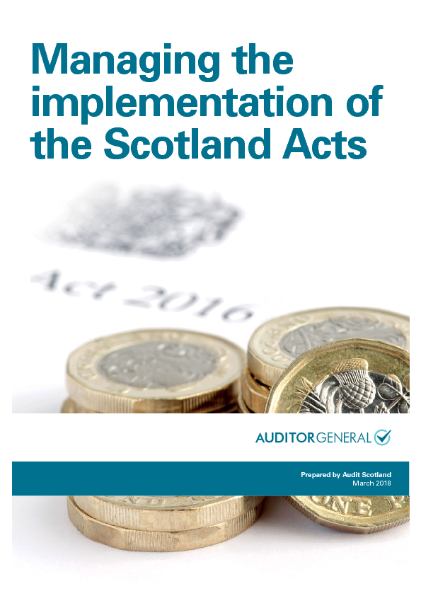 Report cover: Managing the implementation of the Scotland Acts