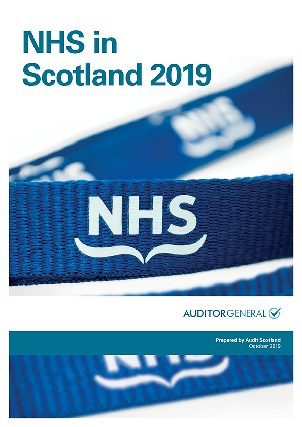 Report cover: NHS in Scotland 2019