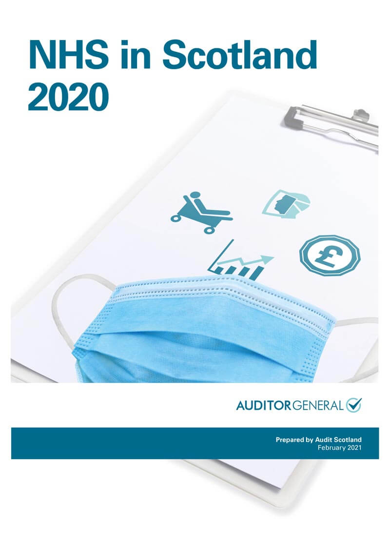 Report cover: NHS in Scotland 2020