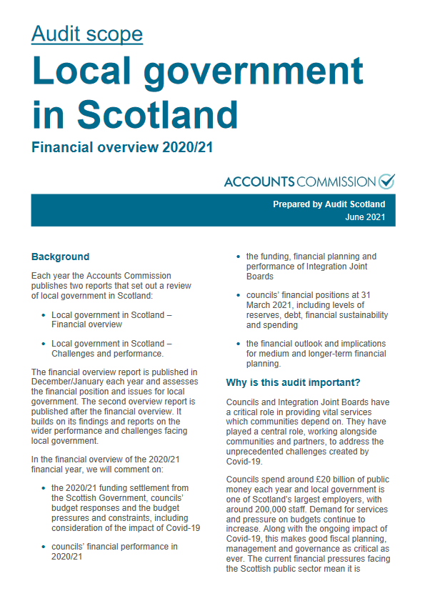 Report cover: Local government in Scotland - audit scope