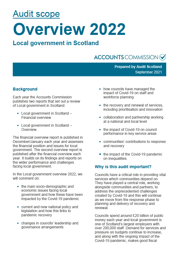 Report cover: Local government in Scotland Overview 2022 - audit scope