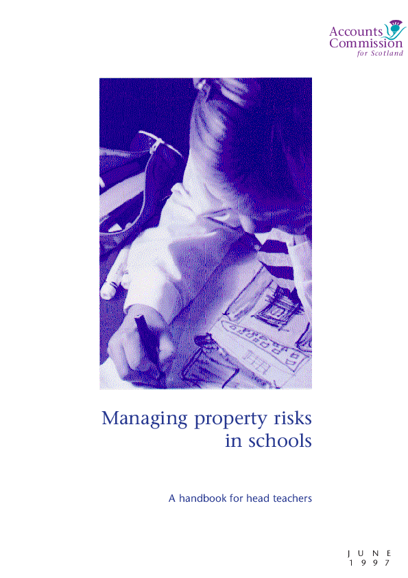Report cover: Managing property risks in schools - A handbook for Head Teachers