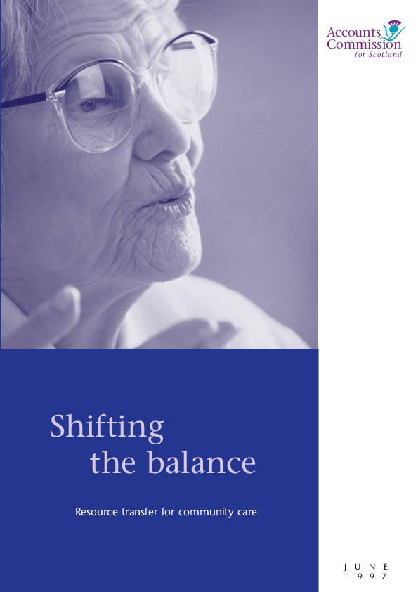 Report cover: Shifting the balance - Resource transfer for community care