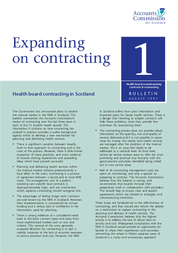 Report cover: Health board commissioning: contracts and contracting - Bulletin 1