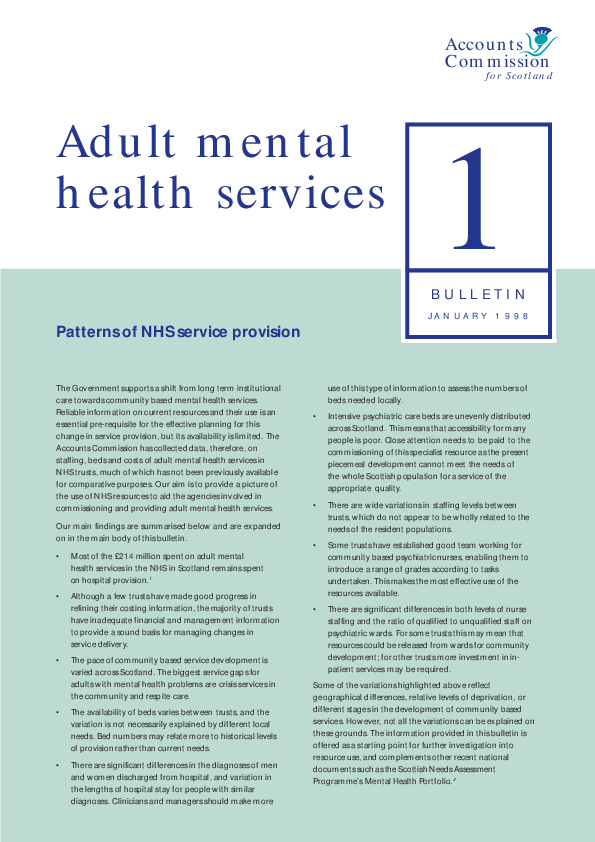 Report cover: Adult mental health services bulletins 1 & 2