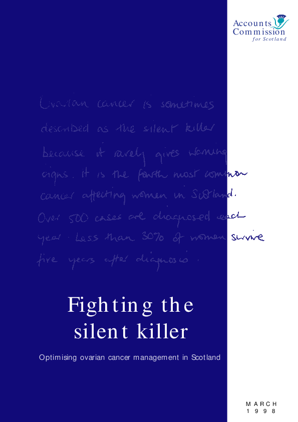 Report cover: Fighting the silent killer - Optimising ovarian cancer management in Scotland