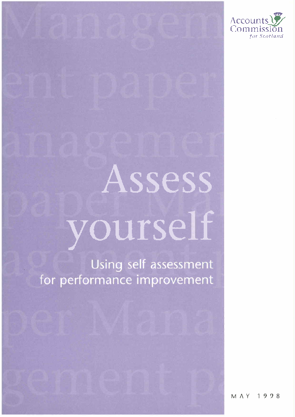 Report cover: Assess yourself: Using self-assessment for performance improvement