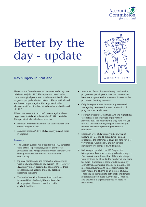 Report cover: Better by the day - Day surgery in Scotland Update