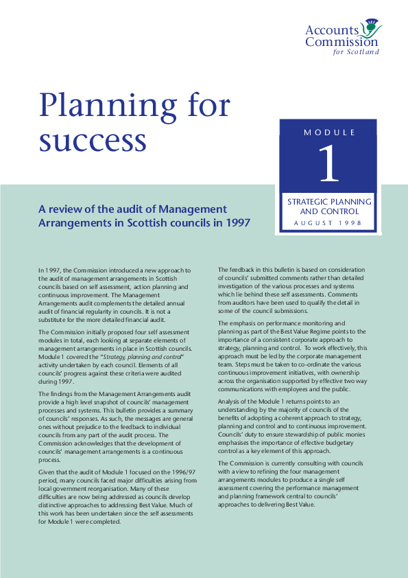 Report cover: Planning for success - A review of the audit of Management Arrangements in Scottish councils in 1997