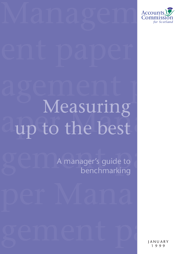 Report cover: Measuring up to the best - A manager's guide to benchmarking