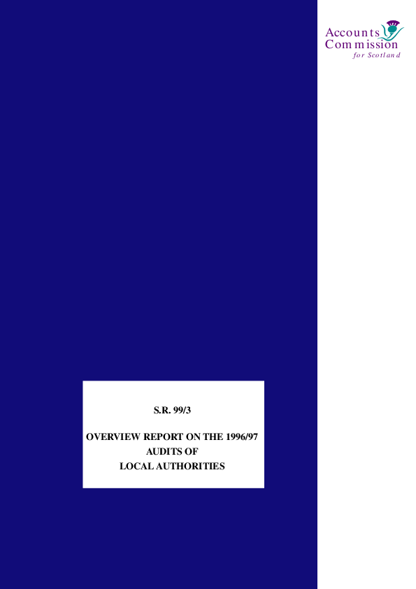 Report cover: Overview report on the 1996/97 audits of local authorities