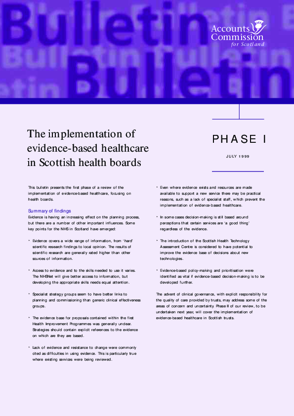 Report cover: The implementation of evidence-based healthcare in Scottish health boards - Phase 1