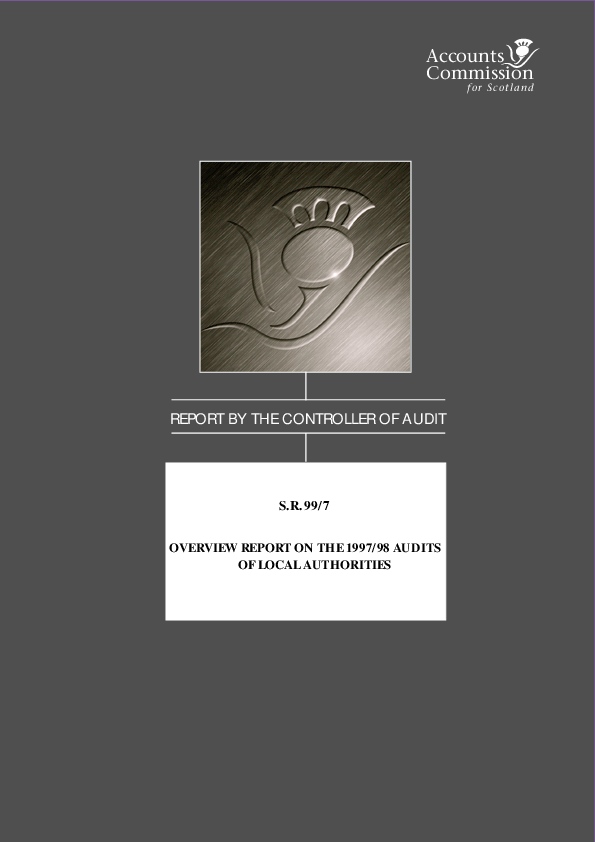 Report cover: Overview Report on the 1997/98 Audits of Local Authorities