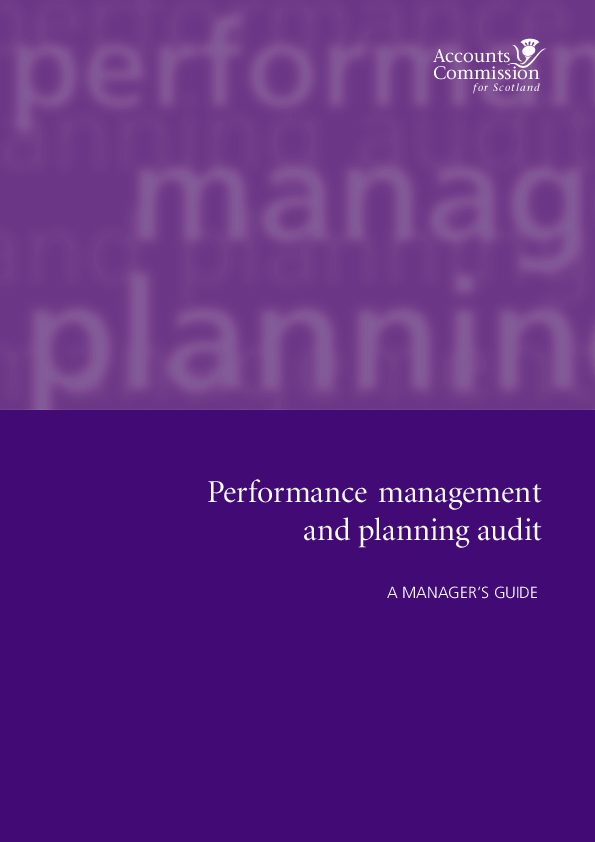 Report cover: Performance management and planning audit - A manager's guide
