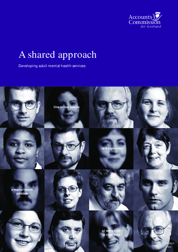 Report cover: A shared approach - Developing adult mental health services