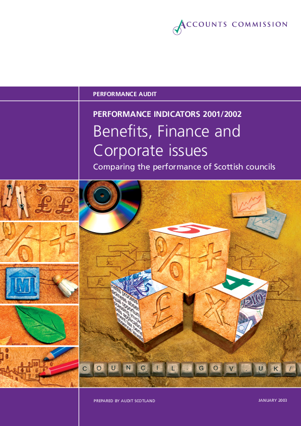 Report cover: Benefits and finance - Performance Information 2001/02
