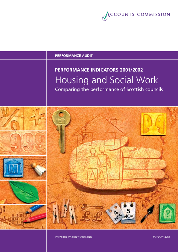 Report cover: Housing and social work - performance information 2001/02