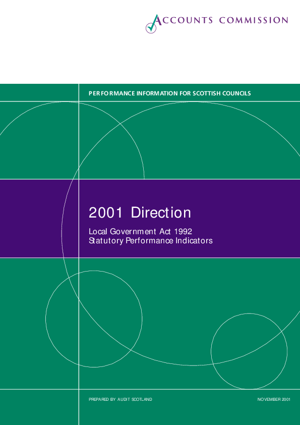 Report cover: Direction 2001 - Local Government Act 1992