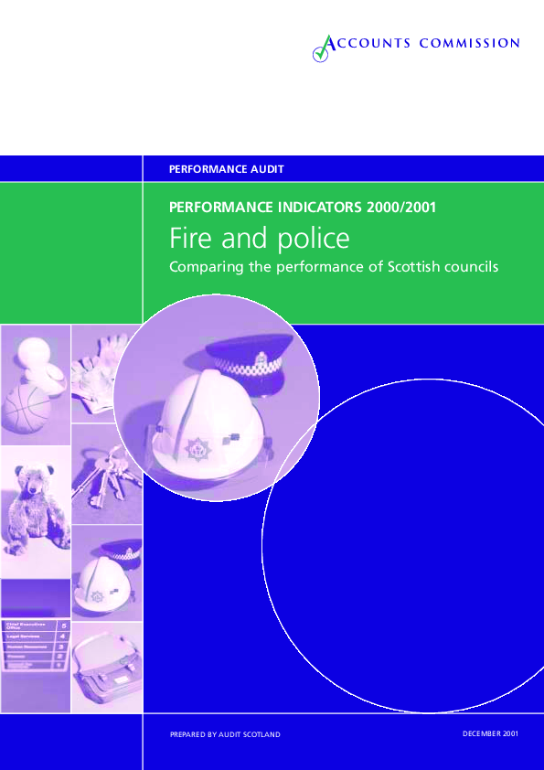 Report cover: Fire and Police - Performance indicators 2000/01