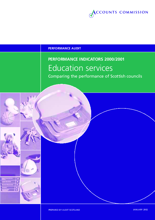 Report cover: Education services - Performance Indicators 2000-2001