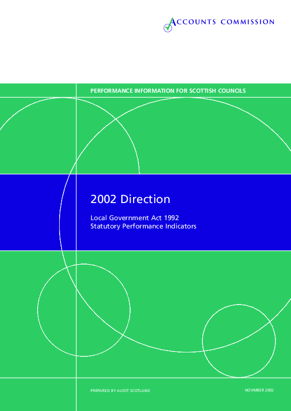 Report cover: Direction 2002 - Local Government Act 1992