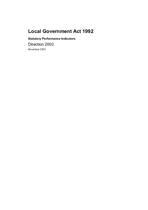 Report cover: Direction 2003 Local Government Act 1992