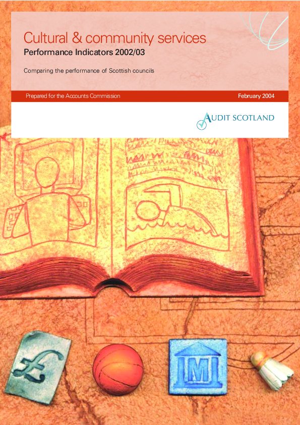 Report cover: Cultural and community services - Performance Indicators 2002/03