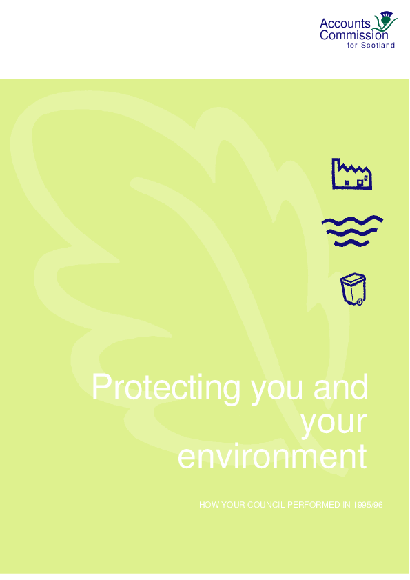 Report cover: Protecting you and your environment - How your service performed in 1995/96