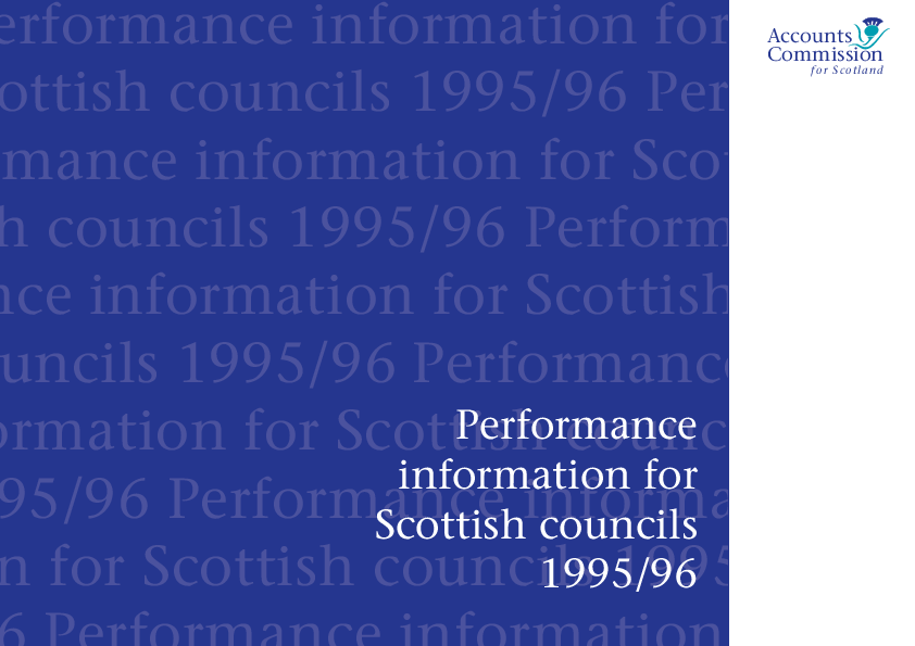 Report cover: Performance Information for Scottish Councils 1995/96