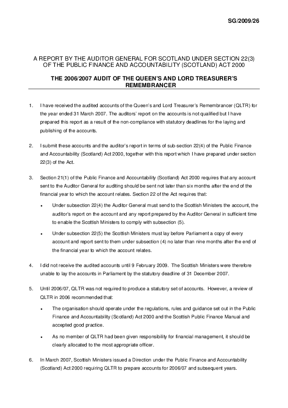Report cover: The 2006/2007 Audit of the Queen's and Lord Treasurer's Remembrancer