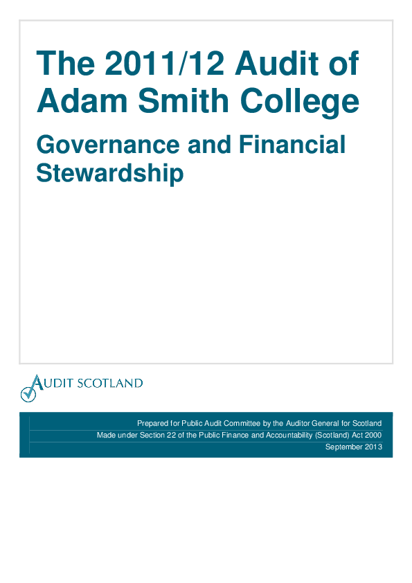 Report cover: The 2011/12 audit of Adam Smith College