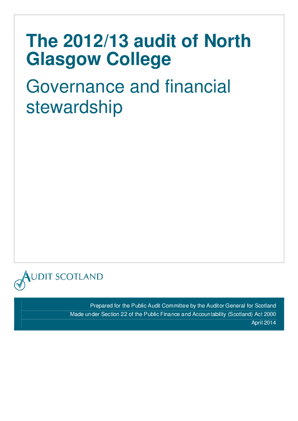 Report cover: The 2012/13 audit of North Glasgow College