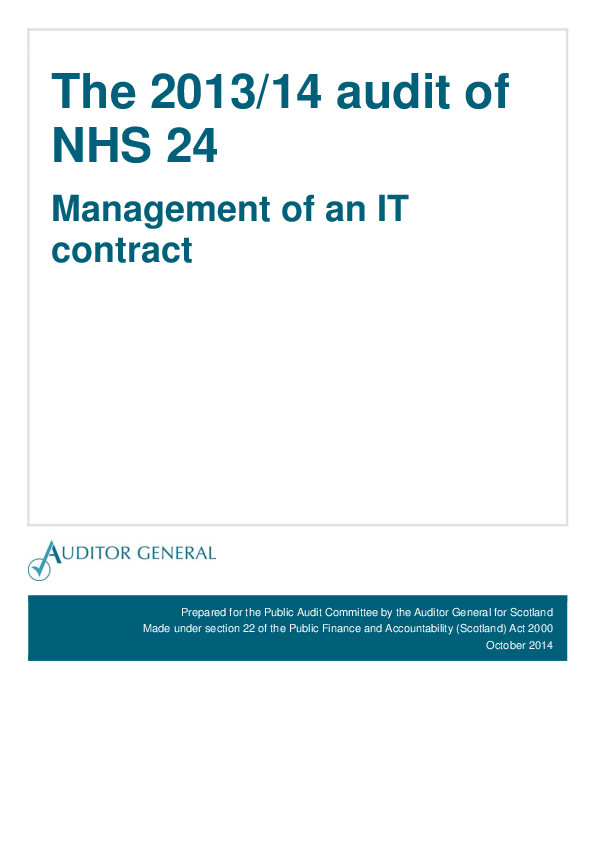 Report cover: The 2013/14 audit of NHS 24: Management of an IT contract