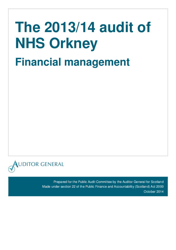 Report cover: The 2013/14 audit of NHS Orkney: Financial management